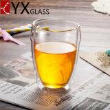 卸し売りレストランのホーム結婚式の茶コーヒー安い二重壁のガラスコップのホウケイ酸塩の倍の壁のガラスコップ/コーヒー・マグかティーセット/飲むガラス