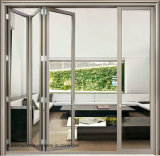 Puerta de plegamiento de cristal doble de aluminio insonora grande del área de apertura