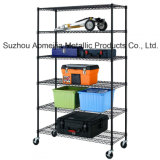 Amj481872b6w 6tier Black Wire Shelving with 4 '' Wheels