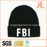 Теплый акриловый связанный шлем вышивки черноты ФБР армии