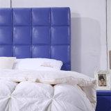Moda Diseño Cama cama de cuero Mobiliario de dormitorio doble moderno (G7010)
