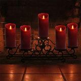 結婚式のための8主リモート・コントロールのバーガンディの柱LEDのFlameless蝋燭