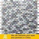 Concha mezclar mosaico de cristal para la pared, blanco y beige