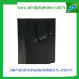 Bolso de compras de encargo del portador del regalo del papel de arte negro