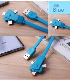 Câble de remplissage tournant de 3in1 USB pour le Type-c androïde smartphones d'iPhone