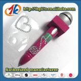 Pena de ponto de esfera e folha dadas forma microfone da etiqueta da gema
