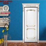 Decalques de porta de madeira exterior de frente branca esculpida à mão (GSP2-079)