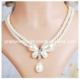 Los hechos a mano naturales de la mariposa Pearl Necklace/ Conjunto de la moda Joyería fina joyería con blanco Rhinestone CZ Cezch piedra para la Mujer Teengae niñas parte