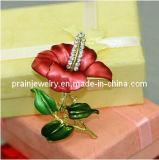 Broche Flor de Oro de Rhinestones Broches de cristal rojo nupcial Material de aleación de zinc con broche chapado en oro y joyas de moda Bisutería Brooch (PBr-027)