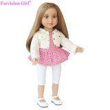 Горячая продажа моды тканью виниловая кукла 18 дюйма девочек Мягкая игрушка для вашего малыша розовый Клетчатую юбку поршня