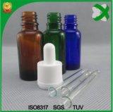 Botella de cristal de cristal de Brown de la botella de petróleo esencial del ámbar de la botella del cuentagotas