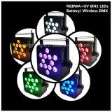 12X12W RGBWA+UV 6in1 LED 건전지 무선 동위 반점 빛 결혼식