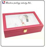 Lederner Uhr-Verpackungs-Bildschirmanzeige-Luxuxablagekasten mit Schlitz zwei für Sein-und-Ihrs überwacht Paar-Geliebten (Sy07)