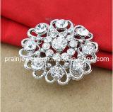 Diseño de Flor redonda Rhinestone clara Broche Cristal bañado en aleación de zinc Broche Flor Broche Bisutería Accesorios Broche Lady imitación (PBr-025)