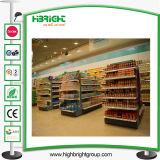 식료품류 상점 두 배 측 슈퍼마켓 섬 선반