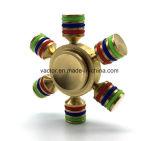Girador de cobre da mão do girador da inquietação com os seis braços da cor do arco-íris