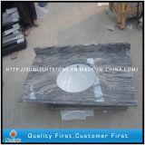 Parti superiori grige poco costose Polished di vanità del granito della Cina Juparana per la stanza da bagno