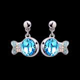 De populaire Blauwe Oorring van de Vorm van de Vissen van het Kristal de Meeste Juwelen van de Manier