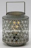 Ronda decorativos antiguos linterna de metal galvanizado con LED Bombilla