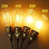 Bulbo del filamento de la jaula de ardilla de la vendimia de St64 4W E26 E27 Edison LED Dimmable