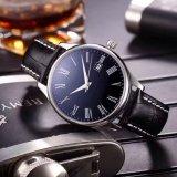 316L het Mechanische Horloge van de Pols van de Mensen van de Band van het Leer van het roestvrij staal
