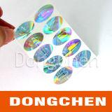 Mejor etiqueta engomada barata cortada con tintas redondo adhesivo de calidad superior de encargo del holograma 3D de la hoja del precio