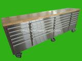 Workbenches шкафа нержавеющей стали с верхней деревянной панелью