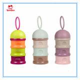 Três recipientes de armazenamento do alimento do pó de leite do bebê da camada/copos do petisco