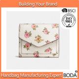 白く、ピンクの花の印刷の女性のクラッチの財布袋(BDX-171111)
