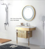 Argento su Floor Modern Mirrored Stainless Steel Bathroom Cabinet Golden (JN-88905B)