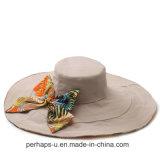 Double-Sided широкий шлем пляжа хлопка Билл с конструкцией Bowknot