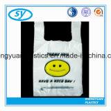 Imprimé au visage souriant sac de magasinage en plastique