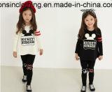 女の子のかわいいMickeyによって印刷される長い袖のスーツの子供の衣服(T-shirt+のズボン)