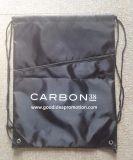 Polyesterdrawstrings-Beutel mit vorderer Reißverschluss-Tasche