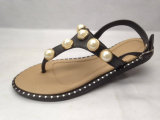 Сандалии повелительницы Сандалии Женщины PVC Тапочки с планкой перлы