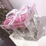 Caixa acrílica desobstruída luxuosa feita sob encomenda da flor
