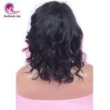 El pelo corto onda Natural pleno encaje peluca