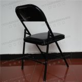 Cadeira de dobradura preta do metal com assento de couro Yc-P11-01 do plutônio do vinil