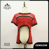Les femmes sexy taille haute Backless Crochet chandail rouge