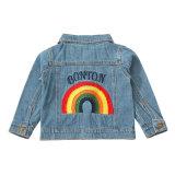 As crianças de bebé azul claro Kid Rainbow Bordados Jeans Denim cubra