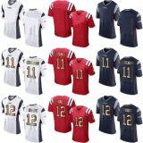 Pullover di football americano personalizzato elite in bianco della Nuova Inghilterra Edelman Brady
