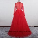 Мода использованием стекла молнией тюль полного рукава Floor-Length свадебные платья