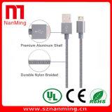 Cable de carga del USB de 8 Pin del cable trenzado de nylon del relámpago con el aluminio para el iPhone