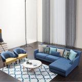 Sofà d'angolo blu del tessuto di disegno moderno per il salone