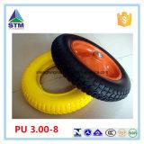 Колесо 3.00-8 пены PU желтого цвета оправы поставщика Китая стальное