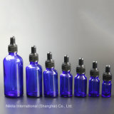 Frasco gotero de cristal azul con negro gotero, botella de aceite esencial (NBG03B)