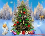 La primavera de purpurina en polvo se aplican a bellamente decorado Manualidades de Navidad