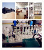 """"""" tubulação de água de vidro da garganta 14 longa científica com reciclador Inline 14mm"""