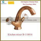 Robinet sanitaire de bassin d'articles de traitement en travers d'or de Rose