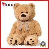 Urso macio enchido gigante escuro personalizado da peluche do luxuoso de Brown com curva